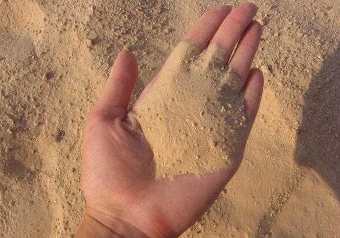 Песок на руке