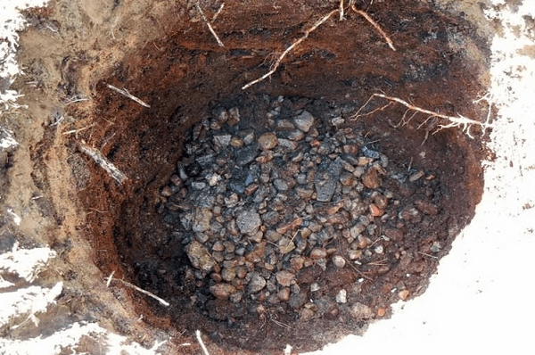 Дренажный слой на дне посадочной ямы