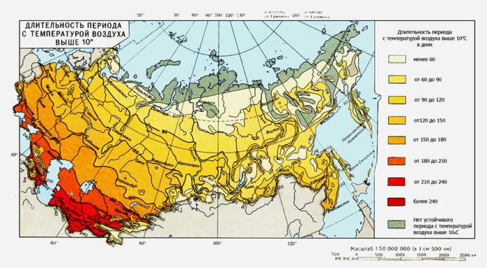 Карта длительности периода активных температур