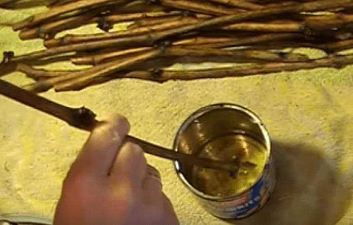 Обработка верхнего среза черенков парафином