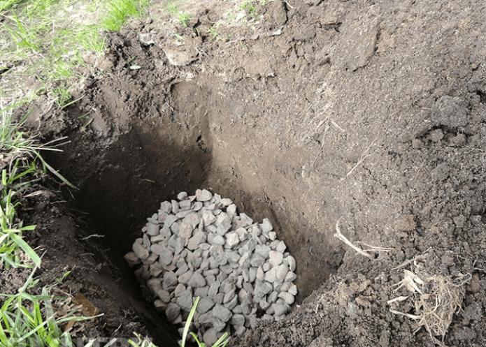 Дренаж в яме под виноград