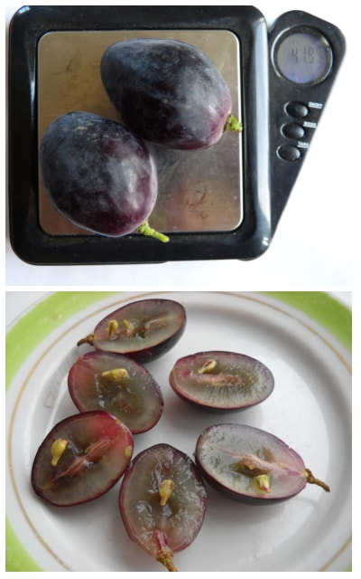 Ягоды винограда Фурор в разрезе