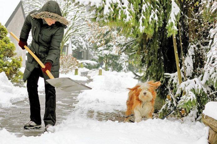 Девушка убирает снег лопатой